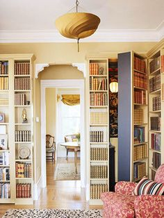 As a Door: Although this idea might require a little more work (and some hinges) you can easily turn a bookcase into a door. Sure it might sound silly or like a secret entrance to the bat cave, in small spaces, the only real expanse of wall you have is the actual door. Make the most of it and have a swing out bookcase!