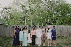 Bridal party. Lauren + AJ Backyard Indie Bohemian Long Island DIY Wedding. Dress and veil: Lindsey Thornburg. Shoes: Raphaella Booz. Photographer: Chellise Michael Photography in Brooklyn, NYC