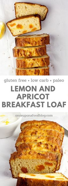 This gluten and refined sugar free Lemon and Apricot Breakfast Bread is absolutely gorgeous. It's light, citrussy and makes the perfect breakfast when served with a spoonful of yogurt and a large mug of coffee. It's also paleo, low carb and nutrient dense. #paleobreakfast #paleoloaf #paleobread #glutenfreebreakfast #glutenfreebread #glutenfreeloaf #lowcarbbreakfast #lowcarbbread  #breakfastloaf #grainfreeloaf #refinedsugarfreebaking #refinedsugarfreecake #onceuponafoodblog