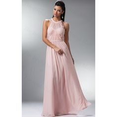 A-line/Princess Halter Chiffon Floor-length Blush Pink Bridesmaid Dress(TBMBD059)