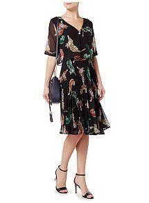 View product Biba Geo tiger pleated skirt dress