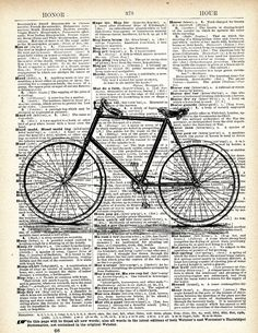 i want to ride my bicycle, i want to ride my bike Cycling Art, Cycling Bikes, Antique Bicycles, Bike Illustration, Bicycle Print, Book Page Art, Dictionary Art, Old Bikes, Bike Art