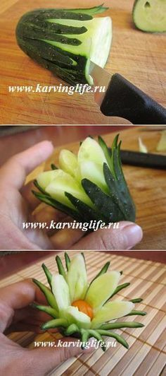 Flower of cucumber. Original decoration carving. | Carving and beautiful recipes