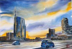 """""""I grattacieli d Milano """" acquerello 35x50 di Lorenza Pasquali Paintings www.lorenzapasquali.it Copyright © Lorenza Pasquali -"""