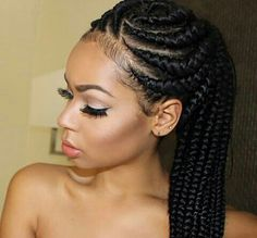cornrows braids- These popular braid styles which is also known as cornrow styles, african braids, cornrow hairstyles and braided hairstyles for black women Feed In Braids Hairstyles, Braided Ponytail Hairstyles, African Hairstyles, Girl Hairstyles, Black Hairstyles, Hairstyles 2018, Summer Hairstyles, Female Hairstyles, Teenage Hairstyles