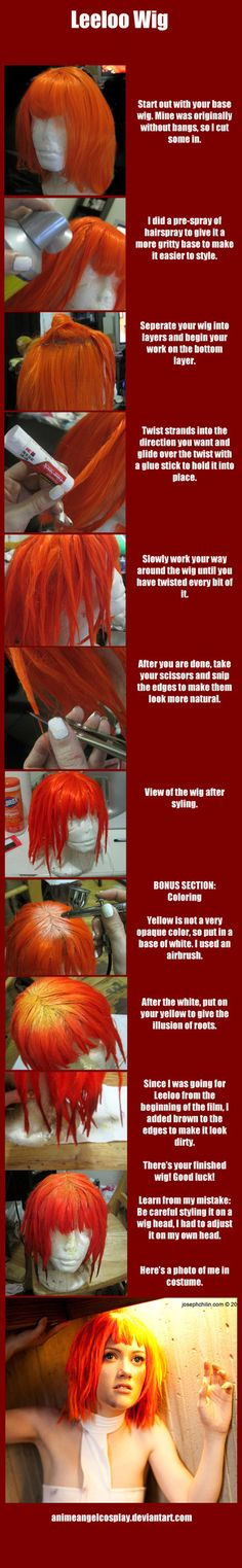 Here's a tutorial for my Leeloo wig! Feel free to browse my gallery for my cosplay and other tutorials! Costume Tutorial, Cosplay Tutorial, Cosplay Diy, Halloween Cosplay, Halloween Costumes, Cosplay Ideas, Halloween Ideas, Halloween 2017, Happy Halloween