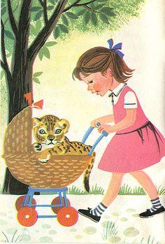 'Simba the Cub' vintage children's book illustration