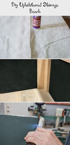 DIY Upholstered Storage Bench - The Created Home Wood Bench Plans, Diy Wood Bench, Diy Upholstered Storage Bench, Circular Saw Table, Trim Router, Hanger Bolts, Plywood Siding, Plywood Boxes, Upholstery Tacks