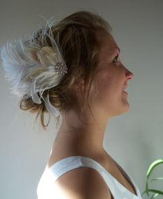 Bridal Fascinator Feathered Hair Clip White and by kathyjohnson3, $38.00