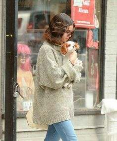 Sel with her dog