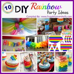 Frugal Mom and Wife: 10 DIY Rainbow Party Ideas! - has a great example of how to do balloon rainbow. Perfect for my little pony themed party. Rainbow Dash Party, Rainbow Parties, Rainbow Birthday Party, Rainbow Theme, 6th Birthday Parties, Unicorn Birthday, Unicorn Party, Birthday Fun, Rainbow Pinata