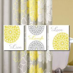 Yellow Grey Gray Modern Floral Flower Flourish Artwork Set of 3 Trio Prints Live Laugh Love Wall Art Decor Bathroom Bath Home Picture