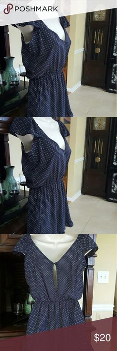 Anthropologie pins and needles romper Navy blue and white dots.  Very good condition. Size extra small. Anthropologie Other