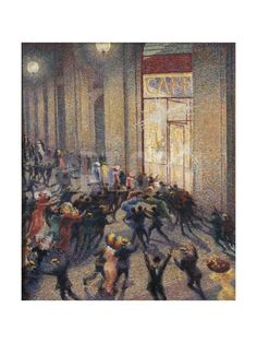 Riot at the Gallery in Front of a Cafe Art Print by Umberto Boccioni at Art.com