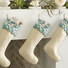 Coastal Christmas Stockings, Coastal Christmas Decor, Nautical Christmas, Beach Christmas, Christmas Table Decorations, Christmas Sewing, Elegant Christmas, Christmas Holidays, Christmas Crafts