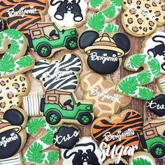 Happy 2nd birthday, Benjamin! Cookies for his Mickey Mouse safari party…