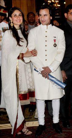 Saif Ali Khan in White Sherwani,White Mens Sherwani, Sherwani Groom, Wedding Sherwani, Bollywood Couples, Bollywood Fashion, Bollywood Style, Indian Bollywood, Bollywood Actors, Bollywood Celebrities