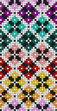 Diamonds plaid rainbow perler bead pattern Would make a great cross stitch patte. Diamonds plaid rainbow perler bead pattern Would make a great cross stitch pattern Bead Loom Patterns, Beading Patterns, Embroidery Patterns, Cross Stitching, Cross Stitch Embroidery, Hand Embroidery, Cross Stitch Designs, Cross Stitch Patterns, Crochet Scarf Diagram