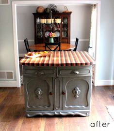 before & after: kitchen island redo + a pair of chairs Dresser Kitchen Island, Diy Kitchen Island, Kitchen Redo, Kitchen Remodel, Cabinet Island, Kitchen Pantry, Repurposed Furniture, Diy Furniture, Before After Kitchen