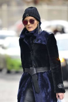 Olivia Palermo in Fur Coat Out in New York