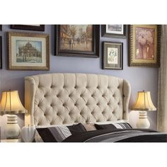 Headboard: favorite shape. Good height. Neutral color. It also comes in dark grey.