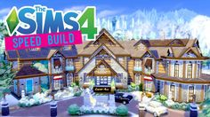 The Sims 4 - Speed Build - Alpine Lake Hotel & Spa - (Part 1/2) - No CC Lake Hotel, Hotel Spa, Sims Building, Spa Parts, Alpine Lake, Sims 3, Mansions, House Styles, Snow
