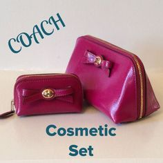 "NWT. Coach Turnlock Bow Cosmetic Set Awesome!!! Patent Leather.  Color is call Cranberry. Comes in a beautiful Coach gift box!!!  2 pouches, both zip closure. Matching color interior fabric. Larger pouch has slip pocket. Super cute set!!!  Large 7""x4""x3.5""  Smaller 4""x3""x2"" Coach Accessories"