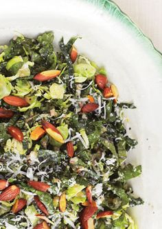We had this delicious Tuscan kale and Brussels Sprout salad as a Thanksgiving side. I added shredded apples and carrots for a little more flavor.