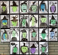 wacky witches for grade. love these! You are in the right place about kids halloween snacks Here Halloween Kunst, Halloween Art Projects, Halloween Arts And Crafts, Fall Art Projects, School Art Projects, Fall Halloween, Halloween Witches, Artists For Kids, Art For Kids