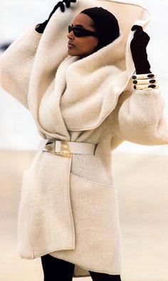 Marc Hispard for Elle magazine, November 1987. Coat by Anne Marie Beretta.
