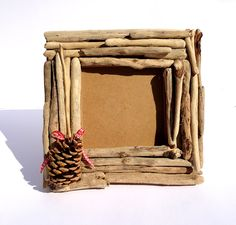 Handmade Natural Rustic Primitive Country Photo Frame with Driftwood and Pine. €35.00, via Etsy.