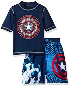 26a30d07452f Marvel Little Boys Captain America 2Piece Swim Set Blue 4    Check out the  image