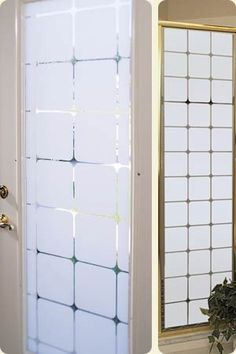 The Monte Carlo decorative frosted window film is a timeless pattern transforming ordinary glass into etched glass beauty. Blocks are frosted and lines are clear / see-through of this decorative film Frosted Glass Design, Frosted Glass Door, Glass Doors, Etched Glass Vinyl, Grey Wall Tiles, Frosted Window Film, Front Doors With Windows, Upvc Windows, Window Privacy