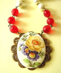 Cameo Necklace Vintage Jewelry Flower Necklace Rose by zafirenia,