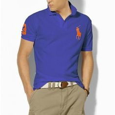 Ralph Lauren Men's Blue Orange Big Pony Polo  http://www.ralph-laurenoutlet.com/