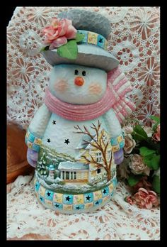 Hand painted ceramic bisque snowlady Cute Snowman, Christmas Snowman, Christmas Crafts, Christmas Decorations, Christmas Time, Ceramic Bisque, Ceramic Clay, Pottery Painting, Ceramic Painting