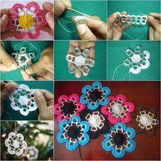 Pull Tab Crochet Flowers FREE Pattern