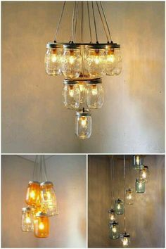 DIY ::  Mason Jar Chandeliers arranging idea - Like the third one for an outdoor eating area