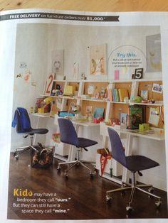 Love this idea for kids homework desk area