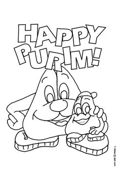 coloring page purim morty and son english
