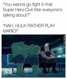 Why couldn't everybody do that instead of fighting each other. Hate Marvel and their stupid politics. Marvel Funny, Marvel Memes, Marvel Dc Comics, Marvel Avengers, Funny Avengers, Johnlock, Destiel, Captain America Civil War, Marvel Universe