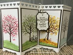 A screen card with the four seasons featuring the Sheltering Tree stamp set.    It was also the winning card for New Zealand new office decorating competition.