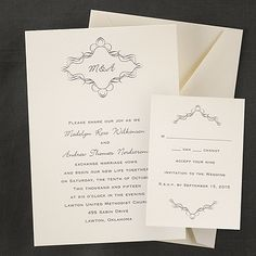 """Your initials are diplayed inside an elegant design that is shown at the top of this ecru invitation.  """"5 x 7 1/8"""""""