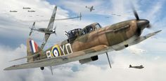 Boulton Paul Defiant Mk I, 255 Sqn. RAF, Battle of Britain, by Adam Tooby. With their rear facing armament, they were successful until the Luftwaffe realised they were not Hurricanes. Ww2 Aircraft, Military Aircraft, Mustang 67, Aircraft Painting, Airplane Art, Ww2 Planes, Battle Of Britain, Royal Air Force, Aviation Art