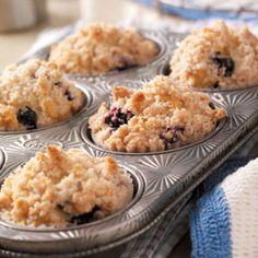 Blueberry Streusel Muffins Recipe from Taste of Home -- shared by Mary Anne McWhirter of Pearland, Texas