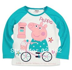 4371c74e2 Aliexpress.com : Buy Free shipping Cartoon unisex children's clothing  girl's Peppa Pig T shirt lovely spring autumn long sleeve t shirts tops  F4108# from ...