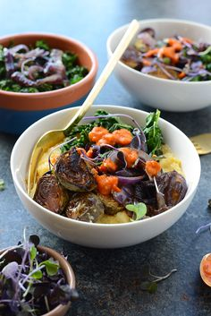 Vegetarian Meal Prep Idea – Roasted Brussels Sprout Polenta Bowls