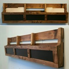 Reclaimed Pallet Wood 3 Pocket Wall/Floor Organizer with Chalkboard. Mail holder, file holder, magazine rack, vinyl record storage, office decor, kitchen decor.  Made to order 3 pocket organizer with chalkboard inserts. Works great in the office to keep mail and files organized, or in the kitchen to hold cookbooks, magazines, school folders, mail and much more. Makes great storage for vinyl records. Can sit on the floor or be hung on the wall. The chalkboard inserts gives you the ability...