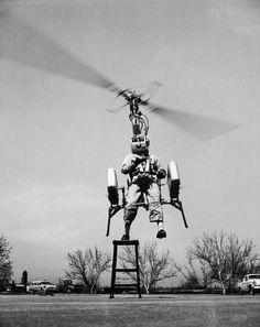 """steroge:    'One small step for man…'  (Test flight of the """"strap-on"""" helicopter, 1957)"""