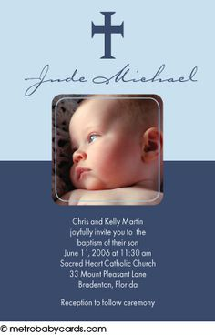 Photo Baptism/Christening Invitations :: Adored Blue Design